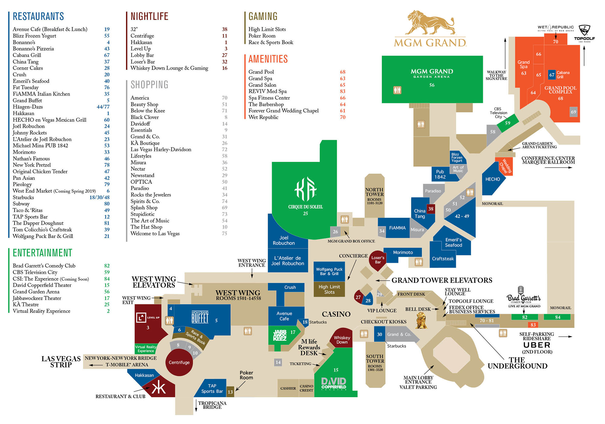 Mgm Grand Map MGM Grand Casino Property Map & Floor Plans   Las Vegas Mgm Grand Map