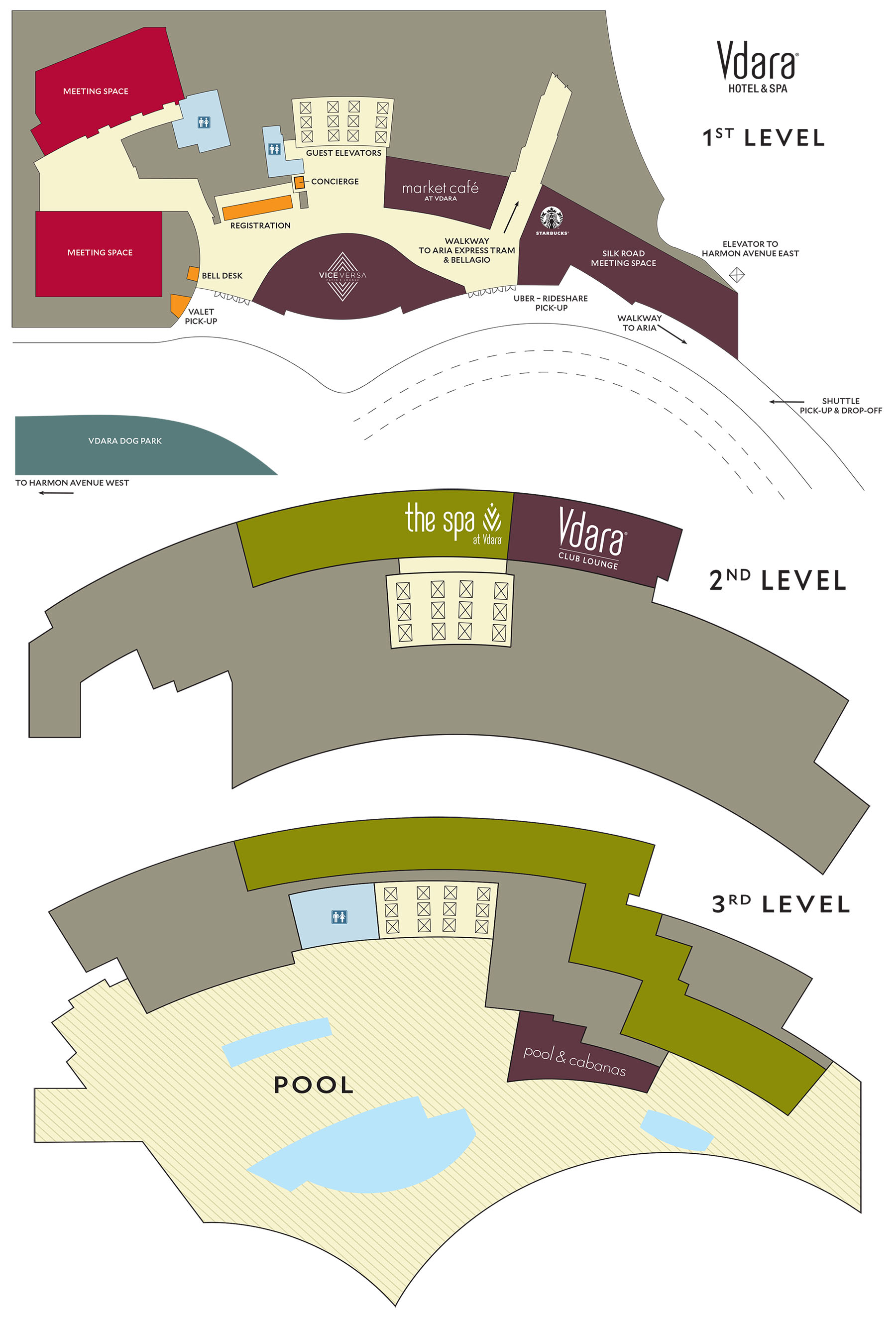 vdara casino property map  u0026 floor plans