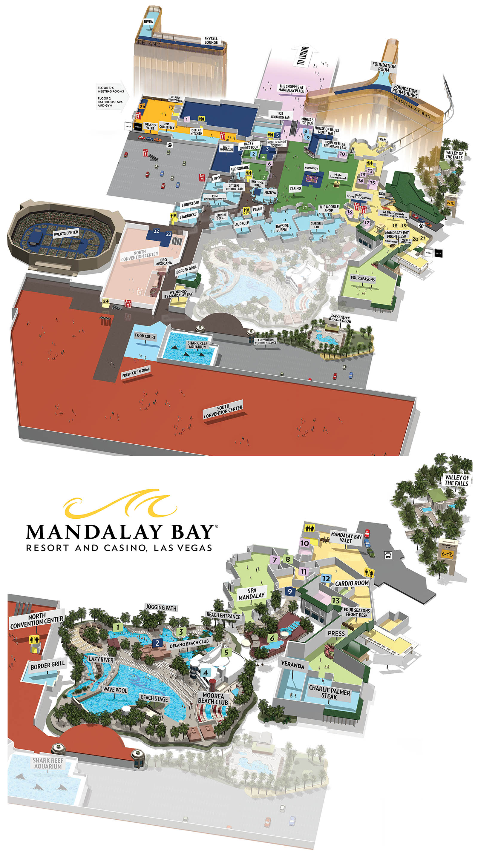 Mandalay Bay Map Mandalay Bay Casino Property Map & Floor Plans   Las Vegas Mandalay Bay Map