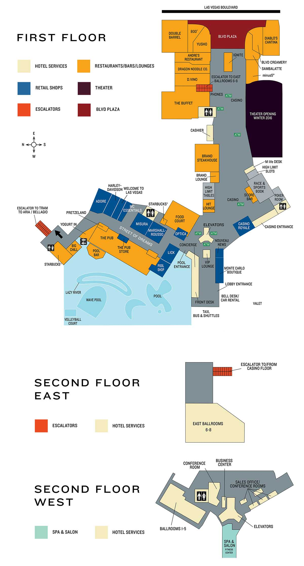 monte carlo casino property map & floor plans - las vegas