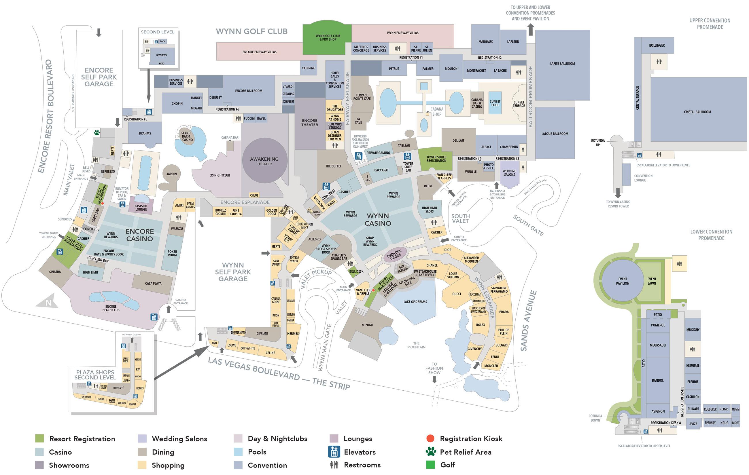 Wynn Las Vegas Map Wynn Casino Property Map & Floor Plans   Las Vegas