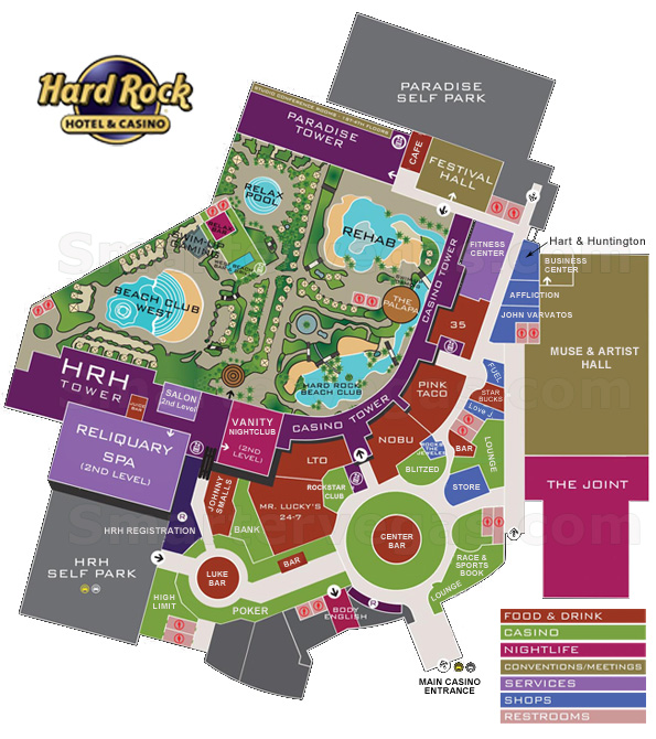 Hard Rock Casino Property Map & Floor Plans - Las Vegas