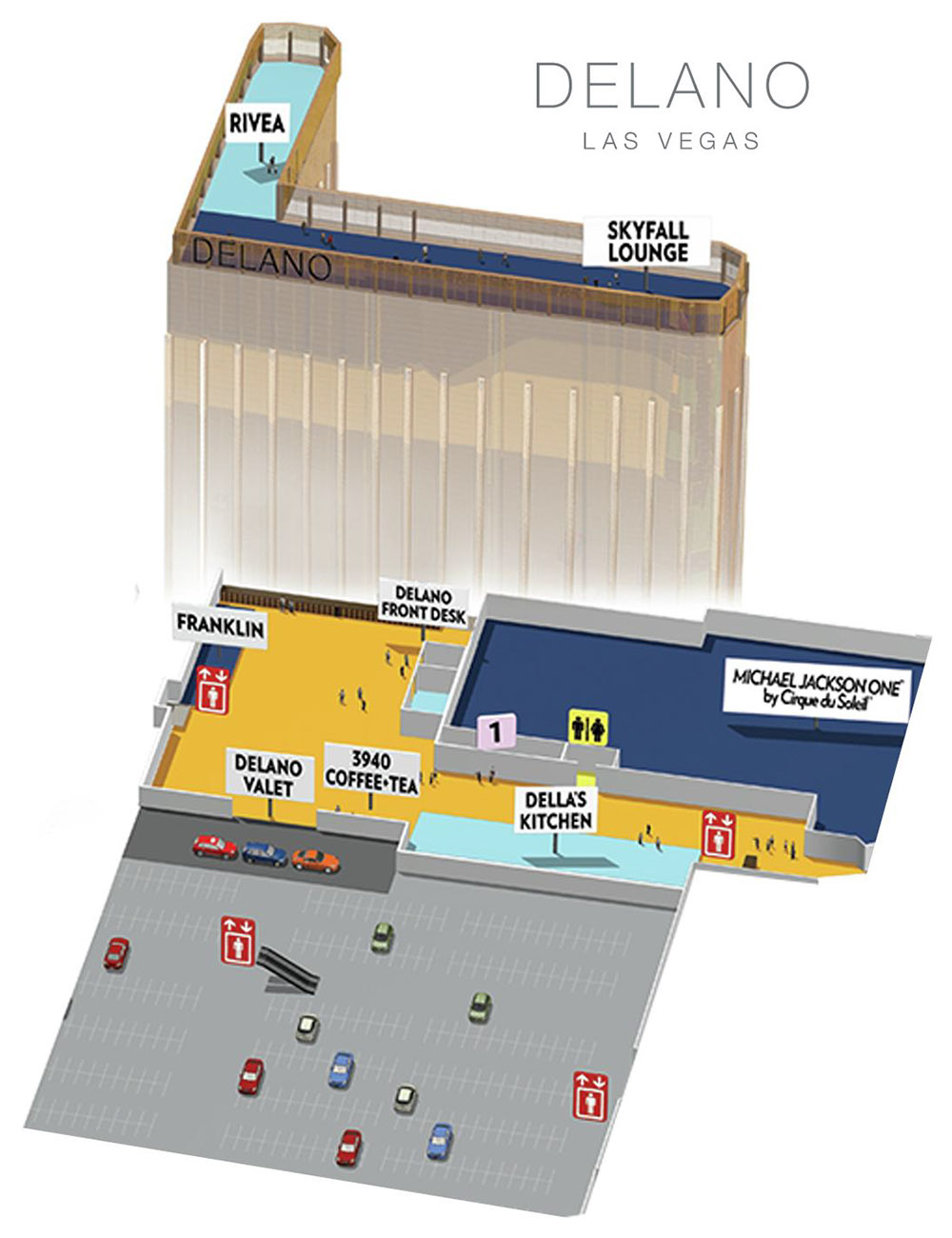 Delano Casino Property Map & Floor Plans - Las Vegas
