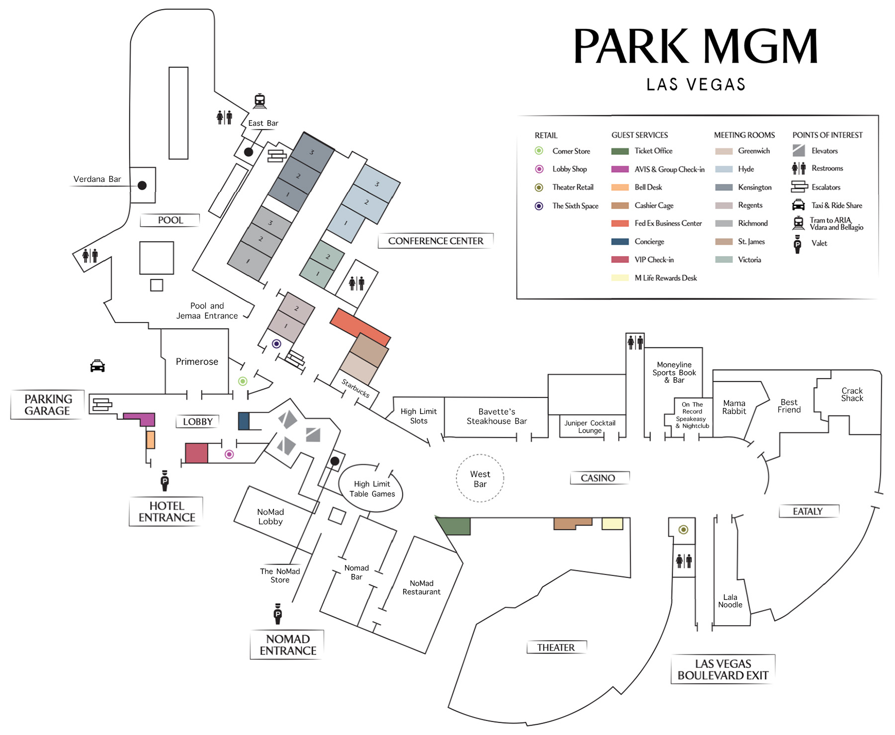 Park Mgm Casino Property Map Amp Floor Plans Las Vegas