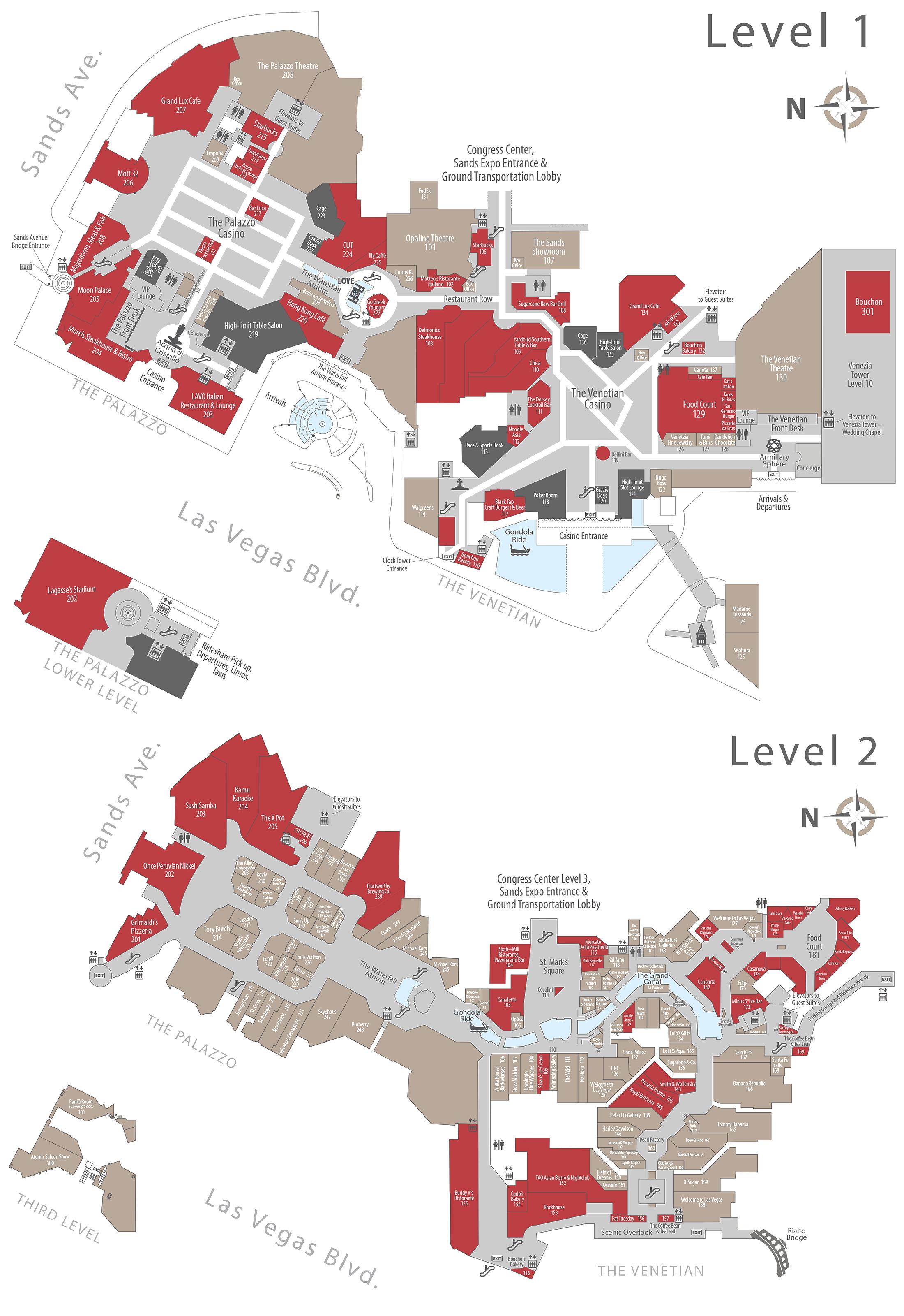 The Palazzo Casino Property Map Floor Plans Las Vegas