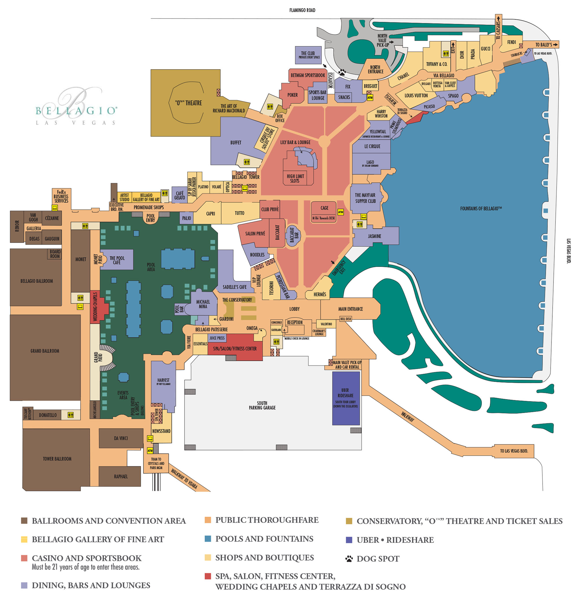 Bellagio Casino Property Map Floor Plans Las Vegas