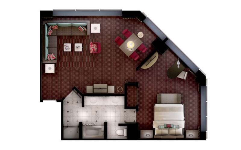 Mgm Signature One Bedroom Suite Floor Plan